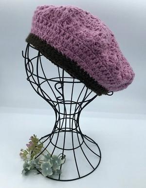手編みベレー帽(イチゴミルク&ブラウン)