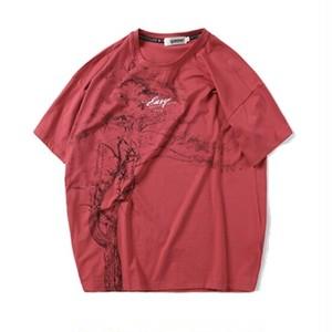 送料無料/メンズ/大きいサイズ/赤/グレー/木モチーフプリント/コットン/半袖Tシャツ