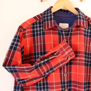 ロングシャツワンピース / 赤チェック