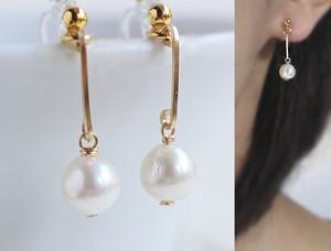 あこやバロック真珠とゴールド・バー・ノンホールピアス(ピアスのようなイヤリング)