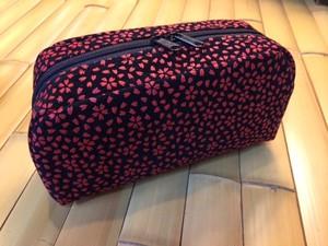 印伝風 ポーチ  桜 赤