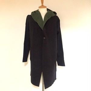 Reversible Knit Hood Coat Black / Khaki