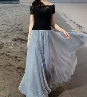 ふんわり シフォン マキシ丈スカート  フリーサイズ