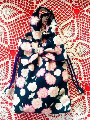小物リボン巾着「桜柄ネイビー」