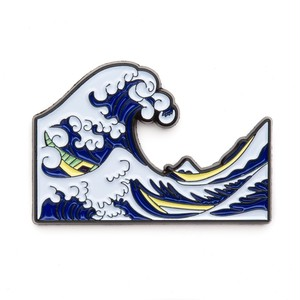"Today Is Art Day ピンバッジ ソフト エナメル ""The Great Wave off Kanagawa by Hokusai"" AJ00430"