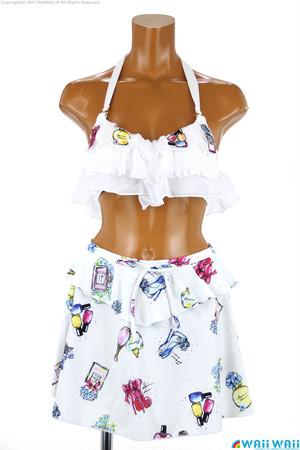 Sweet Flavor - 刺繍フリルプリントスカート付 3点セット(337020 - 80:ブルー)
