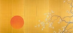 下村観山作「弱法師」(※高精細複製画)(4曲1隻 H695×W1682)