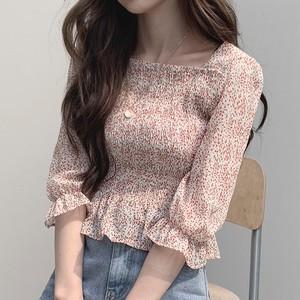 【トップス】CHIC韓国版清新スクエアネックフリル花柄✿収束スウィート着やせ見え7分袖シャツ