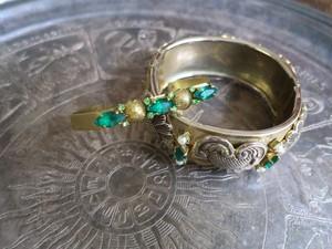 グリーンビジューバングル vintage bangle green bijou <BG-GR2>