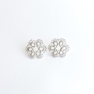 YulariceTatting lace pierced earring squere SV925