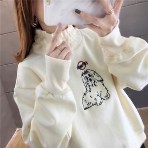 【トップス】韓国系長袖刺繍秋冬プルオーバーアプリコットカートゥーンパーカー