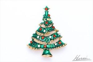 【即納】 Horai ブローチ カラフル ラインストーン 合金 クリスマスツリー 結婚式 お呼ばれ