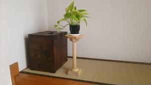 青森ヒバ 木製 オリジナル 花台 (小ぶりな観葉植物などの飾り台)
