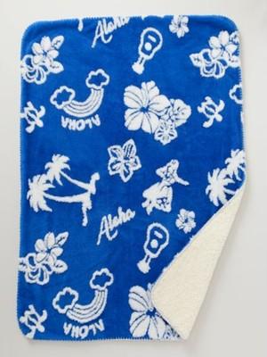 【kahiko/カヒコ】ALOHAハワイアン柄ブランケット ブルー ひざ掛け 毛布