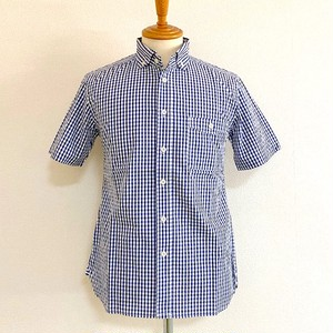 CoolMax Widespread Collar S/S Shirt BLue Gingham