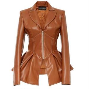PU leather peplum jacket PU レザー ペプラム ジャケット