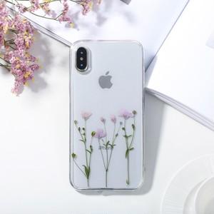 紫の押し花スマホケースiPhoneケースiPhoneX/XS/7/8/6/6S Plus
