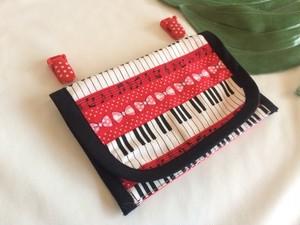 移動ポケットmp03ピアノ鍵盤リボン★スマホ入れ入園入学ハンカチティッシュ