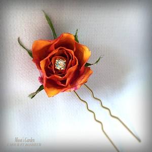 かんざし 薔薇『エルパソ・フォーエバー』鮮やかなアンティーク調かんざし【serial number0114】