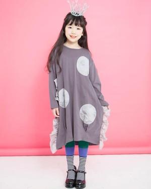 KIDS:UNICA【ユニカ】フリフリドットAPワンピース(チャコール/100〜140cm)