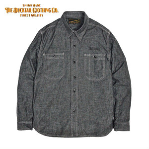 """DUCKTAIL CLOTHING """"STAND FIRM"""" BLACK ダックテイル クロージング 長袖 シャンブレーシャツ"""