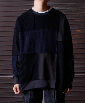 Patchwork LS Tee -black <LSD-BJ3T5>