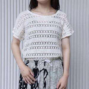 レディース 古着 かぎ編み クロシェ 半袖ニット デッドストック M