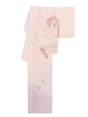 夏物訪問着 ピンク裾藤色綿ちりめん花文様