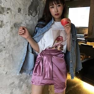【新作】サテンリボンミニスカート