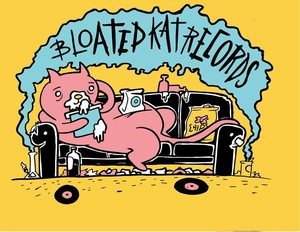 bloated kat records / t-shirt by Todd Purse / SMALL