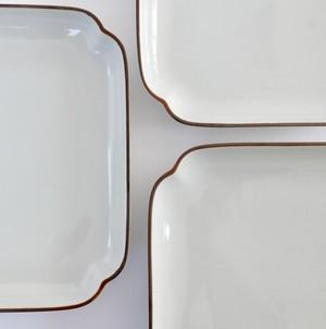 [KR909] 九谷の白 隅切正方形皿 中/ Kutani White Square Plate M/ Showa Era