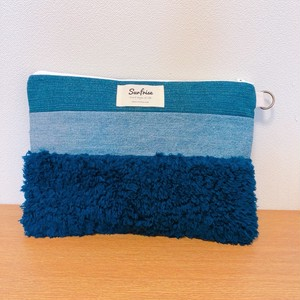 【お届けまで1-2週間】Denim clutch bag MC - Navy