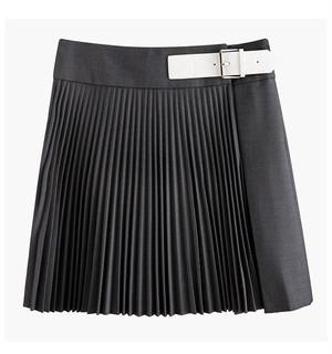 プリーツホワイトベルトスカート WM71002
