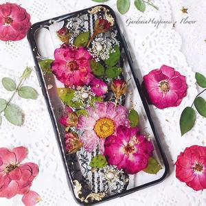 【送料無料】ブラックレースとピンク押し花の スマホケース/ iPhoneケース