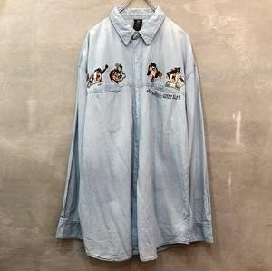 タズマニアン・デビル デニム刺繍 長袖シャツ  #991