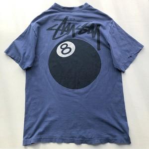 80~90s STUSSY  USA製 黒タグ 8ボール Tシャツ ネイビー 表記(L)