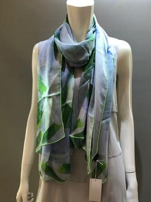 LARIOSETA(ラリオセタ)KF561/21481 Col.004(L.Blue)xL.Green シルクシフォンプリントスカーフ イタリア製