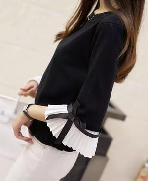 【Imported no brand】袖プリーツリボンセーター(949-999)