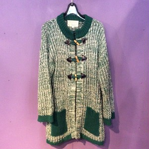 70's Green knit cardigan [B1261]