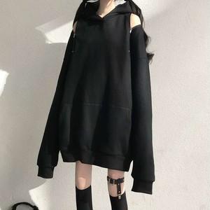 【トップス】ファッションストリート系透かし彫りフード付きパーカー