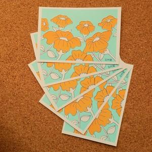 ポストカード【1柄6枚入り】02花柄 イエロー×ブルー