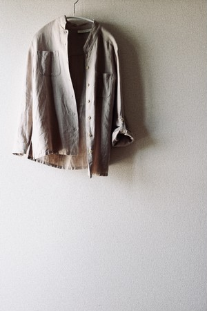 Vintage linen no collar shirt