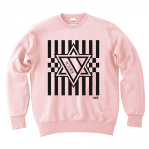 ERICH / HEXAGRAM STRIPE CREWNECK SWEAT LIGHT-PINK