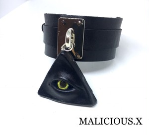 devil eye big choker / yellow(silver)