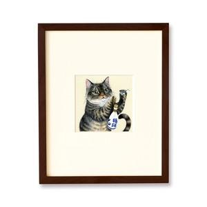 ねこの振舞酒 原画 / Cat and Japanese Sake Original Artwork