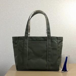 「ポケットトート」通勤トート「オリーブ×生成り」帆布トートバッグ 倉敷帆布8号
