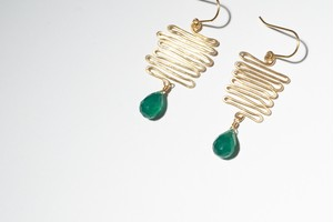 Que será será pierced earring - Green onyx