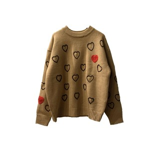 Heartfull Handembroy Knit <Beige> 【ChahChah】