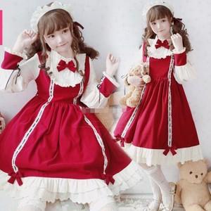9915ロリータ衣装 ロリータ服 可愛い 少女風 ワンピース 黒 赤 ブルー 長袖 lolita