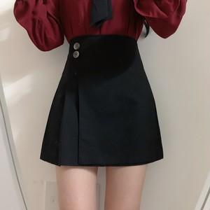 2色/サイドプリーツボタンスカート ・13241